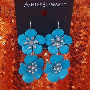 BRIGHT TURQUOISE * FLORAL DROP EARRINGS * NEW